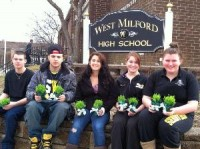 students bring luck to elderly