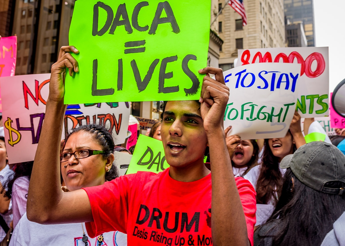 Above: Protesters speak out against the end of DACA.