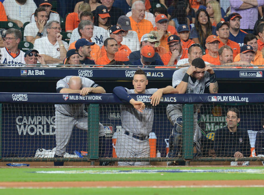 Above: Yanks hang their heads during game 7 against the Astros