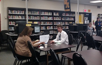 A nervous yet excited Thomas trainor interviews with a college representative. Photo Courtesy:  Mrs.Petrosillo