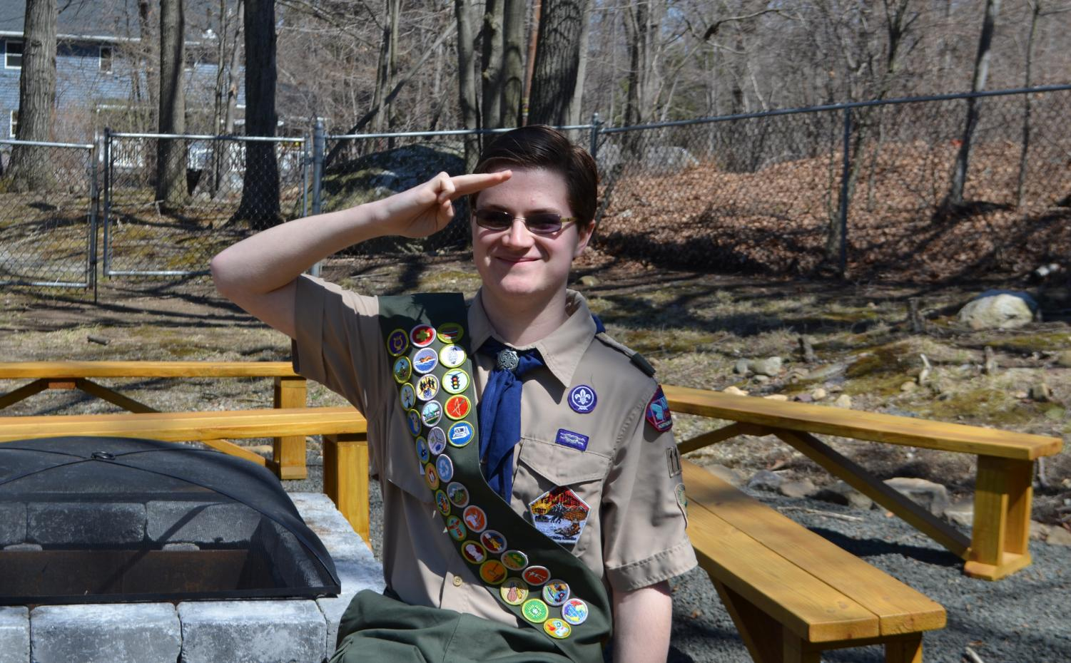 Peter Oselador salutes as an Eagle Scout.  Photo Courtesy: West Milford Messenger
