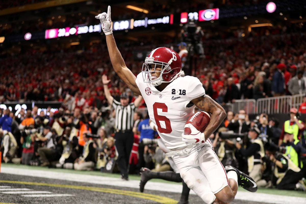 Above: Devonta Smith celebrating after game-winning touchdown. Photo Courtesy: Christian Petersen