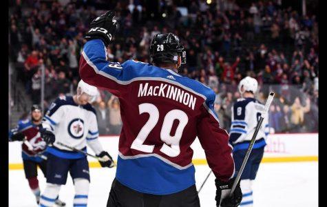 Nathan MacKinnon celebrates the success the Avalanche are having.