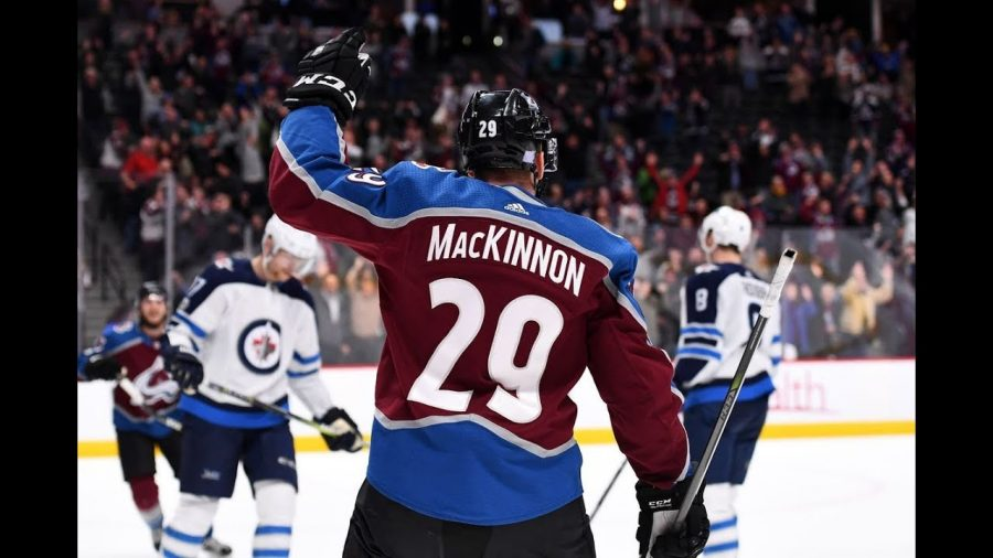 Nathan+MacKinnon+celebrates+the+success+the+Avalanche+are+having.