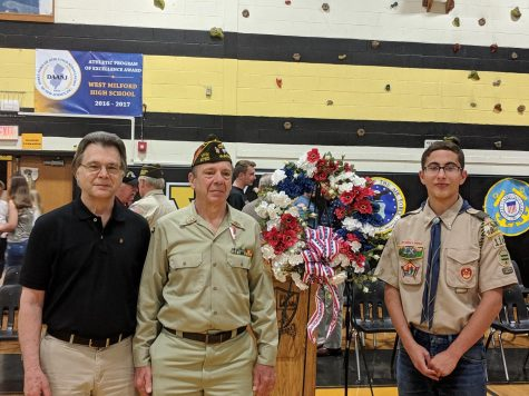 Above left to right: Dr. John Myshkoff, Vietnam War Veteran, US Navy; Mr. Robert Myshkoff, Vietnam War Veteran, US Air Force; and Boy Scout Troop 114 Flag Bearer and Patrol Leader Francesco Petrosillo at the annual War and Remembrance Ceremony held May 20.. Dr. J. Myshkoff was a FT-G2 Fire Control Technician stationed on the USS Chicago, a guided missile cruiser. Mr. R. Myshkoff was an E4 Sargeant with the 432nd Field Maintenance Squad stationed in Thailand, working as an airplane mechanic.  R. Myshkoff is grandfather to Francesco Petrosillo, while J. Myshkoff is Petrosillo's Great Uncle. Photo Courtesy: Mrs. Nicole Petrosillo