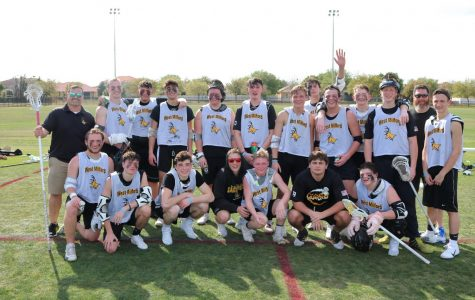 The boys lacrosse team after their first scrimmage in Florida