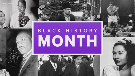Black History Month graphic showing Black history icons like Martin Luther King Jr. and Rosa Parks.